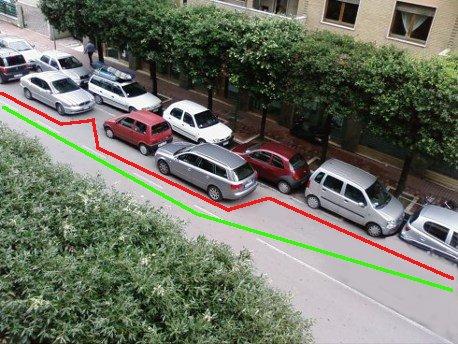 Tragitto corretto in verde e sbagliato in rosso.